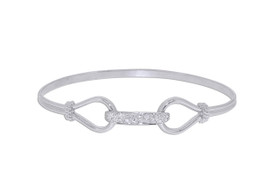 Sterling Silver Diamond Fancy Bangle