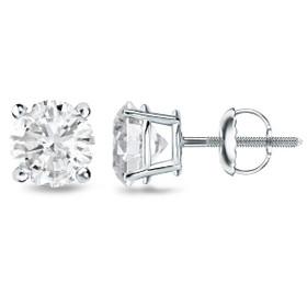 14K White Gold GIA Certified 1.03 Carat Diamond Studs Earrings