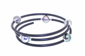Sterling Silver Tahitian Pearl Triple Rubber Flexible Bracelet 82010603