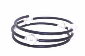 Sterling Silver Triple Rubber Bracelet 82010606