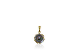 14K Yellow Gold Diamond and Black Pearl Charm/Ring/Earrings Jewelry Set 52000880