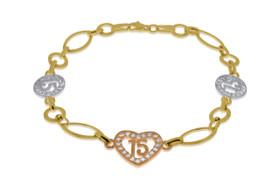 14K Tri Color Gold 15 Anos Birthday Cubic Zircon Heart Bracelet