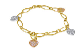 14K Tri Color Gold Cubic Zircon Heart Charm Bracelet