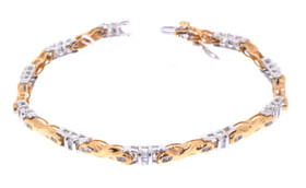 "14K Two Tone Gold 7"" Diamond Bracelet  21000028"