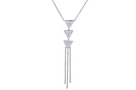14K  White Gold Diamond Y Necklace Chain