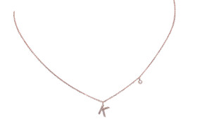 "14K  Pink Gold Diamond K Initial 17"" Necklace 31000735"