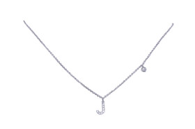 "14K  White Gold Diamond J Initial 17"" Necklace 31000738"