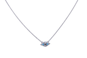 "14K  White Gold Diamond Evil Eye 17"" Necklace 31000737"