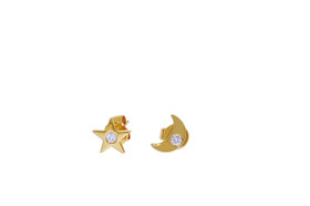 14K  Yellow Gold Diamond Moon And Star Studs earrings 31000739