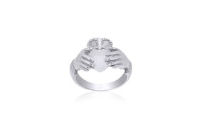 14K White Gold Irish Claddagh Ring 10016190