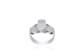 14K White Gold Irish Claddagh Ring 10000528