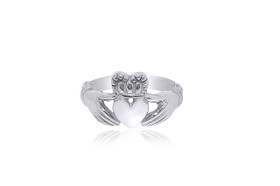 14K White Gold Irish Claddagh Ring 10000038