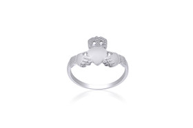 14K White Gold Irish Claddagh Ring 10016099
