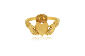 14K Yellow Gold Irish Claddagh Ring 10016194