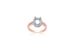 14k White and Pink Gold Diamond Ring Setting