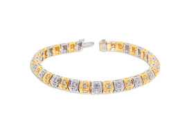14K White and Yellow Gold 2.28-Carat Diamond Tennis Bracelet