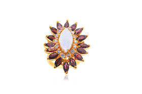 14K Yellow Gold 0.39-carat Diamond Garnet Opal Ring