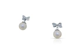 14K White Gold Cubic Zirconia Pearl Earring