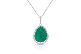 """Sterling Silver Green Onyx  And  Cubic Zirconia Pendant With 18"""" Chain"""