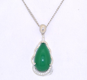 Sterling Silver Pearl Shape Jade Cubic Zirconia Pendant 85210481