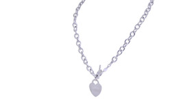 "14K White Gold  17"" Heart Necklace"