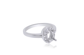14K White Gold Diamond Engagement Ring Setting For Marquis stone
