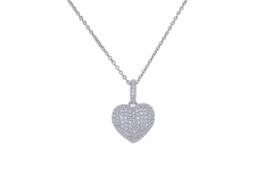 """Sterling Silver 18"""" Cubic Zircornia Heart Necklace 83010799"""