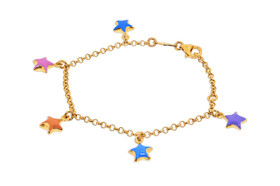 14K Yellow Gold Girls Star Charms Enamel Bracelet