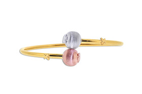 14K Tricolor Gold Bypass  Ball Bangle 23000159