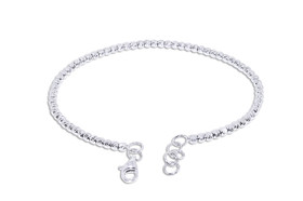 "14K White Gold 7"" Adjustable Beans Bangle 23000157"