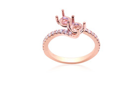 14K Pink Gold and Diamond Setting Ring