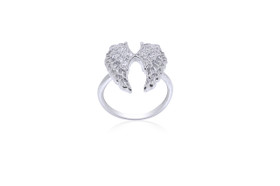 Sterling Silver Cz Angel Double Wing Ring 81010562-E