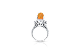 Platnum  Fire Opal Baguette Diamond Ring 12002596