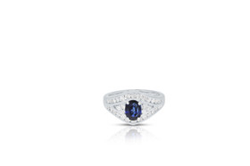 14K White Gold Oval Sapphire diamond Ring 12002598