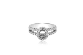 14K White Gold Fancy Diamond Engagement Ring Setting 11005666