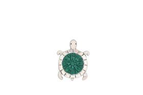 Unique Sterling Silver Green Stone Turtle Charm  85010586