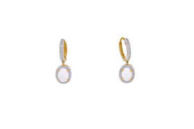 14K Yellow Gold Opal Huggie Earring  42002784