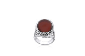 Sterling Silver Unique Agate Oval Ring  81210140