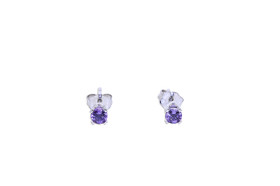 14K White Gold  Amethyst Studs Earrings 42002791