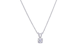 "14K White Gold Solitaire Diamond Pendant With 18"" Chain"