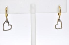 14K Yellow Gold Diamond Hanging Huggie Heart Earrings