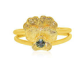 14K Yellow Gold Synthetic Peridot Flower Ring 12002641