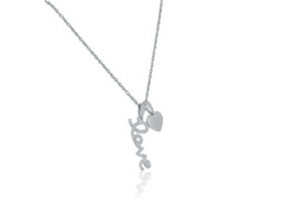 14K White Gold Diamond Love Heart Necklace