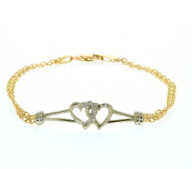 "14K Two Tone Gold 8"" Diamond Double Heart Bracelet  21000028"