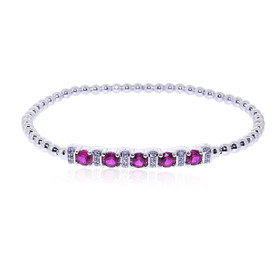 "Sterling Silver 7"" Synthetic White Sapphire And Ruby Bead Bracelet 82010662"