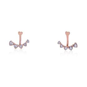 10K Pink Gold Diamond Heart Earrings  49000144