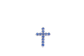 14K  White Gold Blue Topaz Cross Charm 52001914