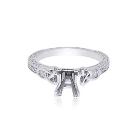 14K White Gold 0.10 ct. Diamond Engagement Ring Setting