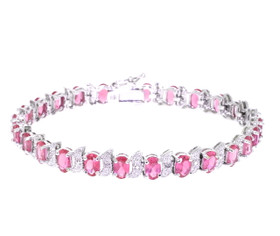 "Sterling Silver 7.25"" Pink CZ Bracelet 82010524"