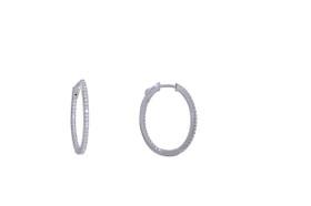 Sterling Silver Cubic Zirconia Oval Hoop Earrings  84010460